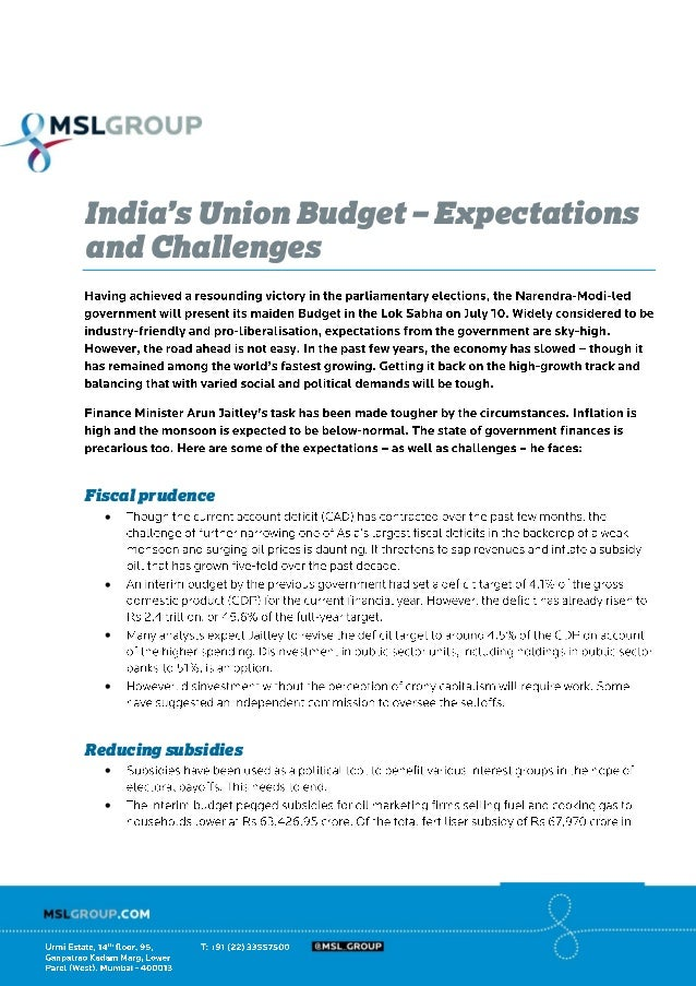 India's Union Budget – Expectations and Challenges Fiscal prudence     Reducing subsidies  