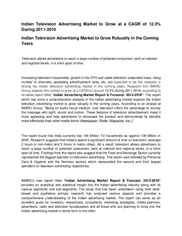 Indian Television Advertising Market to Grow at a CAGR of 12.3%During 2011-2016Indian Television Advertising Market to Gro...