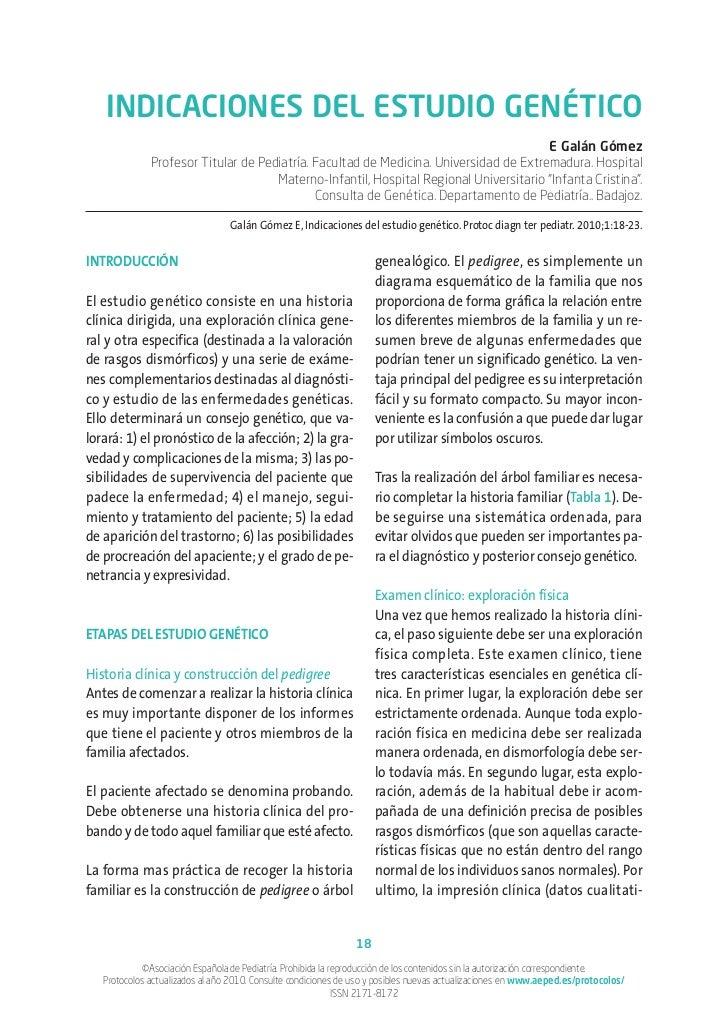 INDICACIONES DEL ESTUDIO GENÉTICO                                                                                       E ...