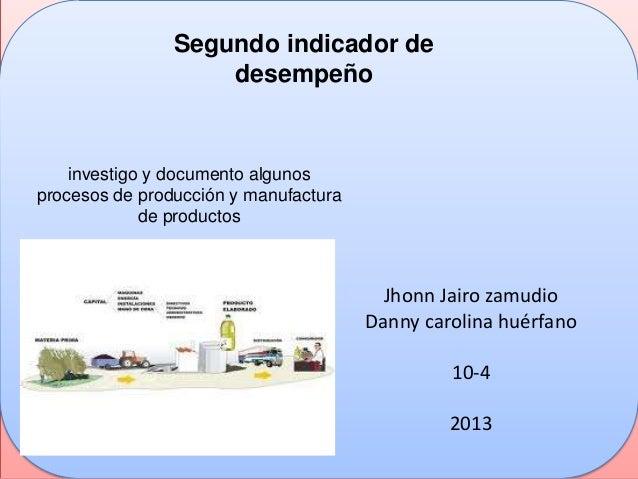 investigo y documento algunosprocesos de producción y manufacturade productosSegundo indicador dedesempeñoJhonn Jairo zamu...