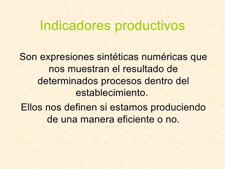 Indicadores productivos Son expresiones sintéticas numéricas que nos muestran el resultado de determinados procesos dentro...