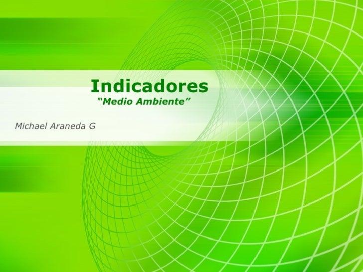 """Indicadores """"Medio Ambiente"""" Michael Araneda G"""