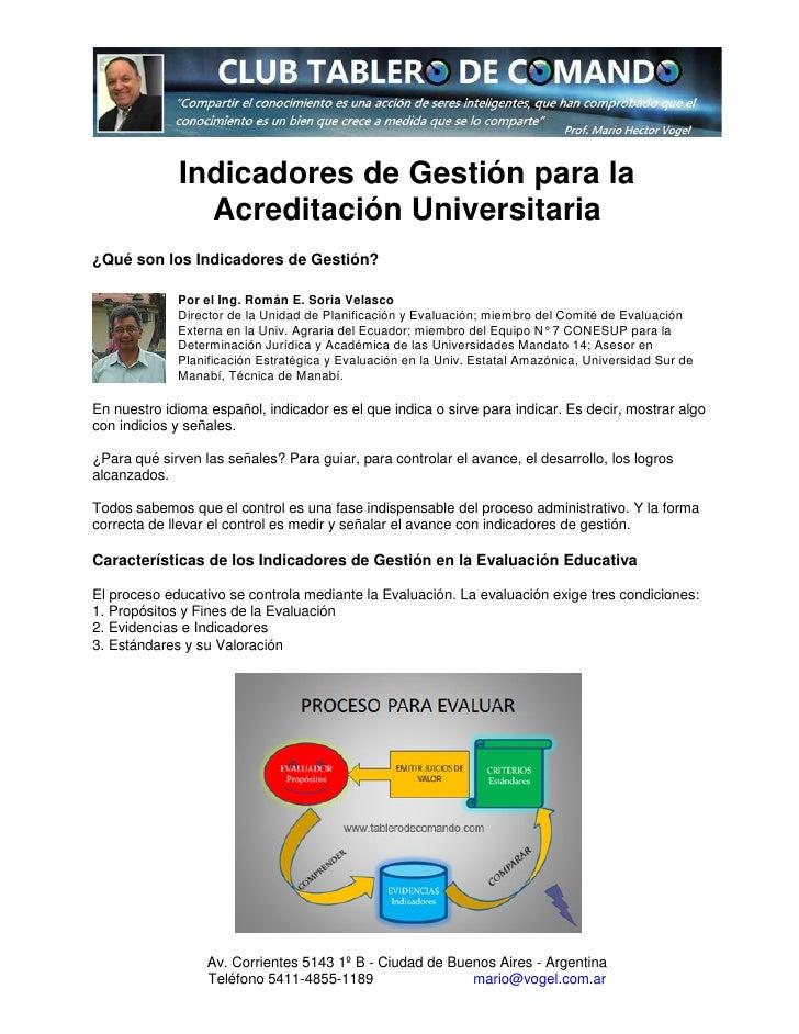 indicadores de la gestion: