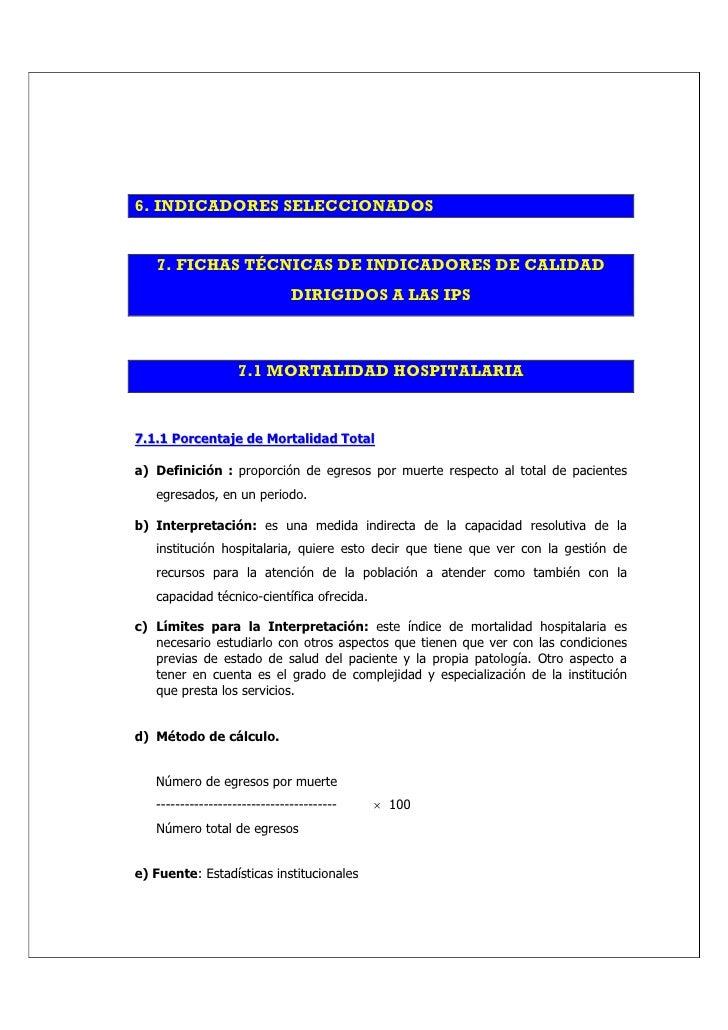 6. INDICADORES SELECCIONADOS      7. FICHAS TÉCNICAS DE INDICADORES DE CALIDAD                                DIRIGIDOS A ...