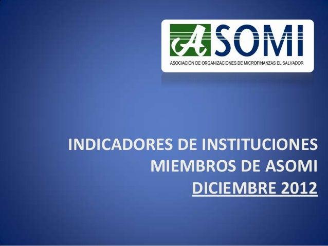 INDICADORES DE INSTITUCIONESMIEMBROS DE ASOMIDICIEMBRE 2012