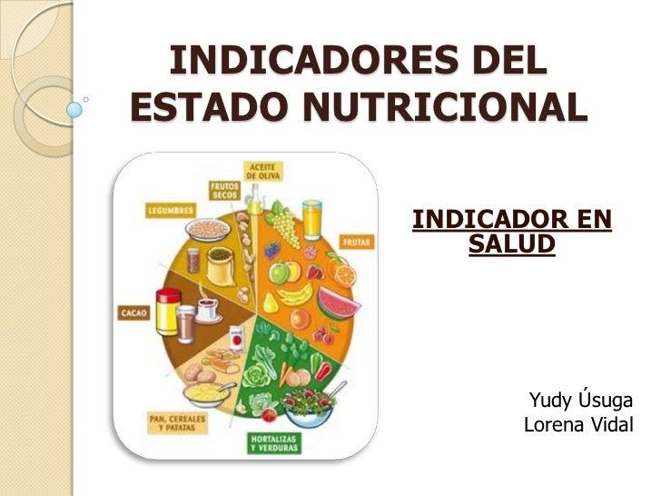 INDICADORES DELESTADO NUTRICIONAL           INDICADOR EN              SALUD                  Yudy Úsuga                 Lo...