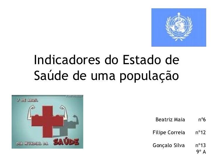 Indicadores do Estado de Saúde de uma população Beatriz Maia nº6 Filipe Correia nº12 Gonçalo Silva nº13 9º A