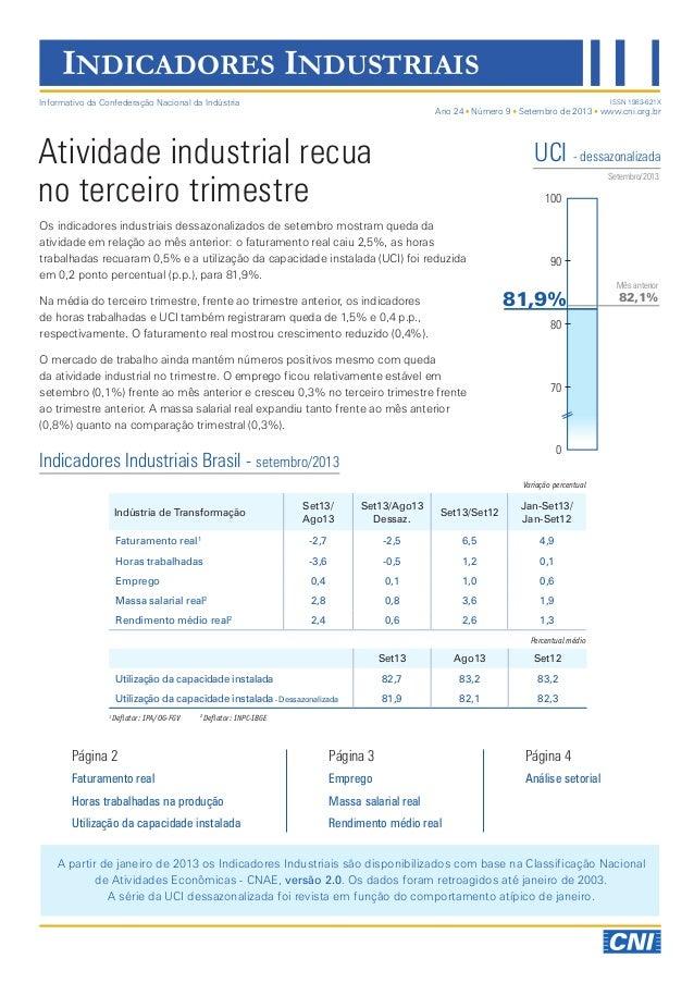Indicadores Industriais | Setembro | Divulgação 08/11/2013