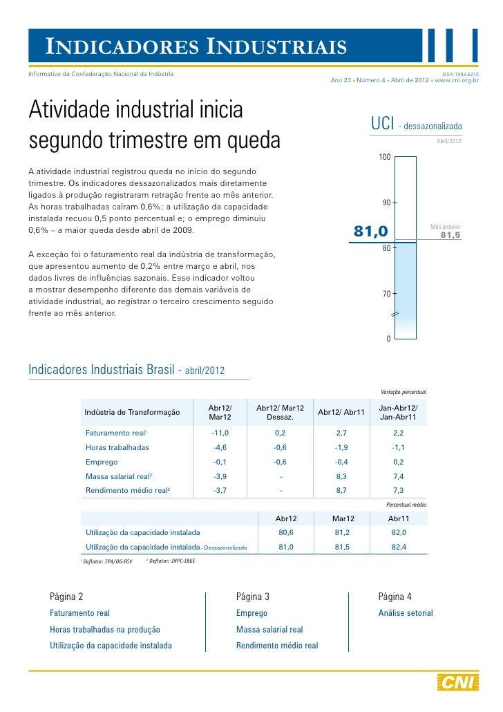 Indicadores Industriais   abril 2012