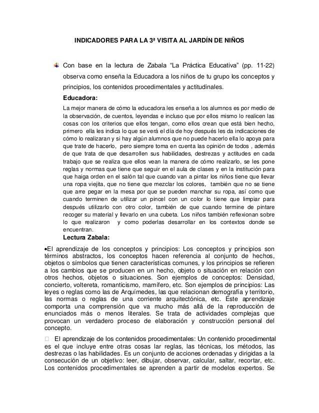 """INDICADORES PARA LA 3ª VISITA AL JARDÍN DE NIÑOS Con base en la lectura de Zabala """"La Práctica Educativa"""" (pp. 11-22) obse..."""