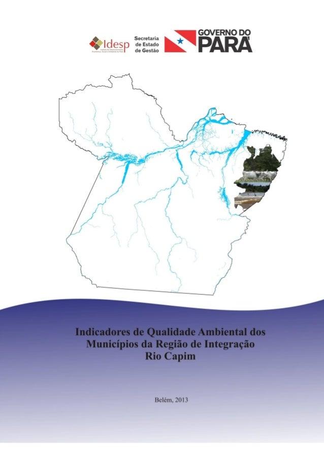 INDICADORES DE QUALIDADE AMBIENTAL DA REGIÃO DE INTEGRAÇÃO RIO CAPIM 2013
