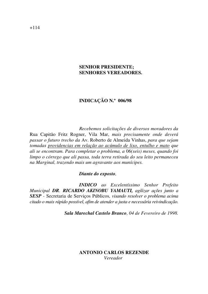 Vereador Rezende - Indicações 98