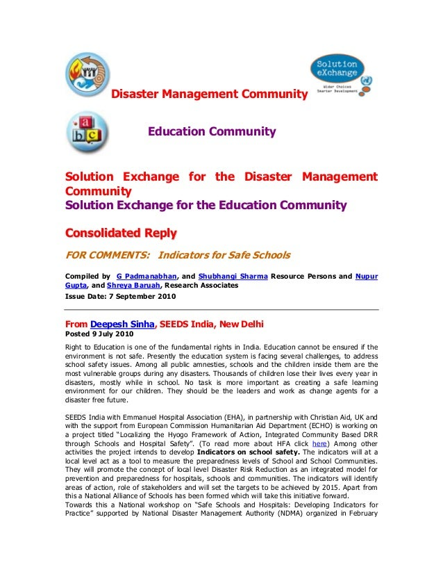 Disaster Management Community                         Education CommunitySolution Exchange for the Disaster ManagementComm...