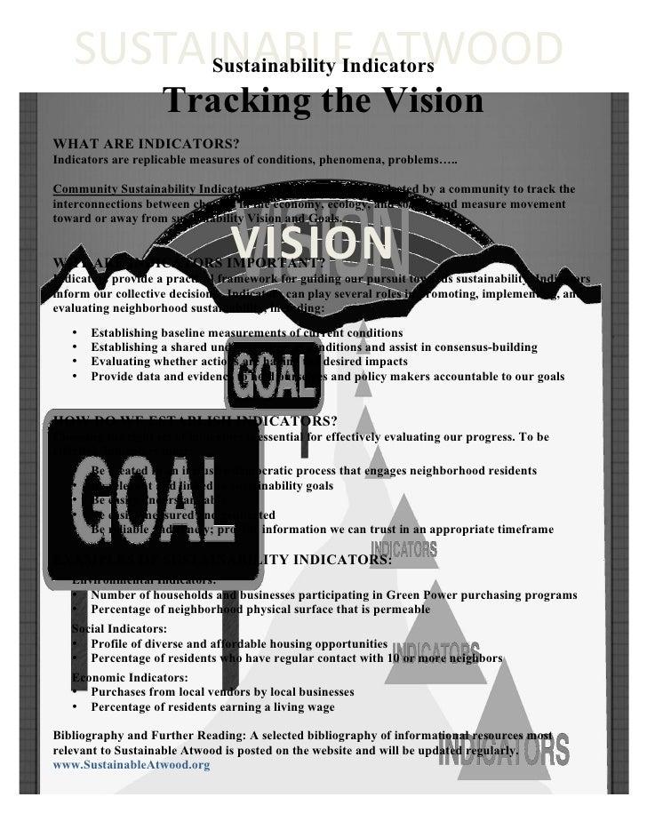 """Tracking the Vision: Sustainability Indicators"""