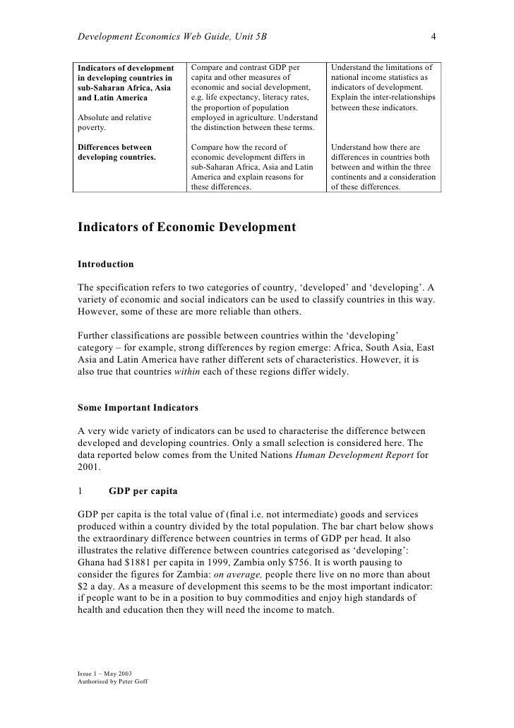 Development Economics Web Guide, Unit 5B                                                          4  Indicators of develop...