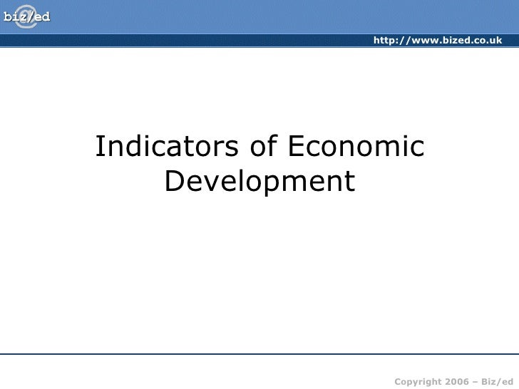 Indicators of Economic Development