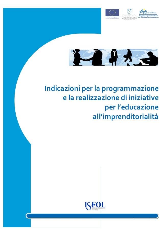 Indicazioni programmazione per l'Educazione all'Imprenditorialità