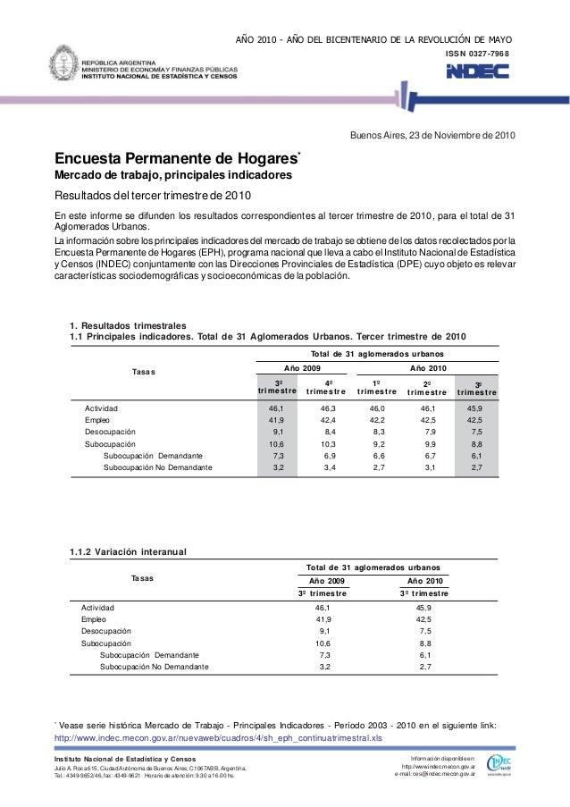Encuesta Permanente de Hogares* Mercado de trabajo, principales indicadores Resultados del tercer trimestre de 2010 En est...