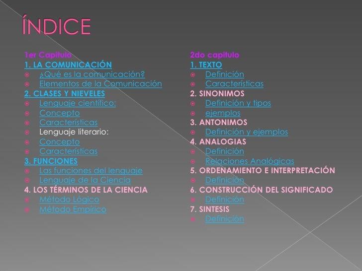 1er Capitulo                     2do capitulo1. LA COMUNICACIÓN               1. TEXTO ¿Qué es la comunicación?        D...