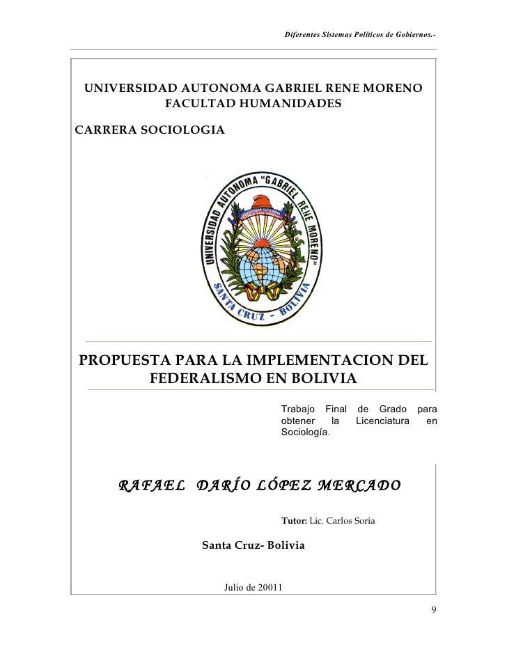 La Implementación del Federalismo en Bolivia