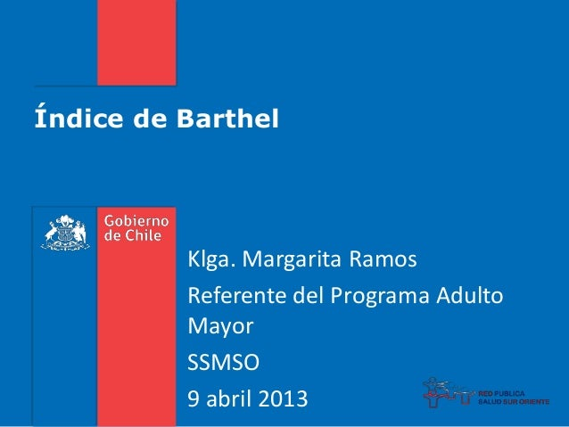 Índice de Barthel Klga. Margarita Ramos Referente del Programa Adulto Mayor SSMSO 9 abril 2013
