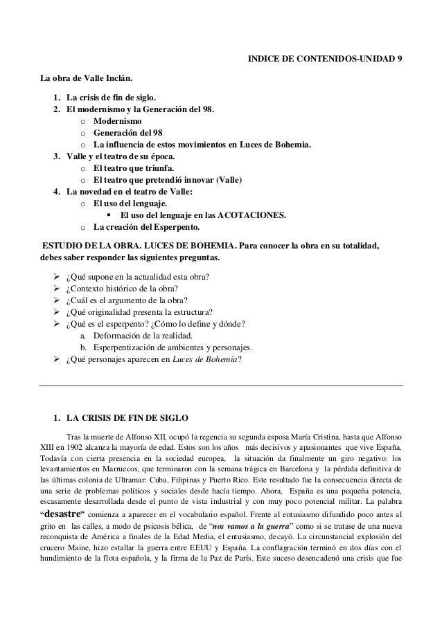 INDICE DE CONTENIDOS-UNIDAD 9 La obra de Valle Inclán. 1. La crisis de fin de siglo. 2. El modernismo y la Generación del ...