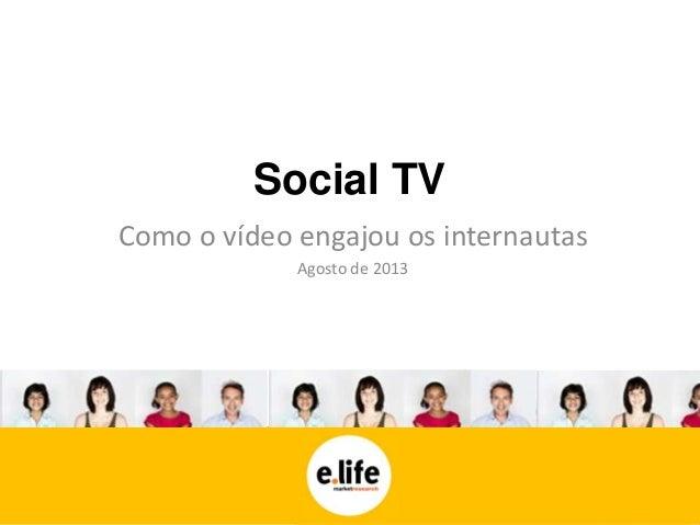 Social TV Como o vídeo engajou os internautas Agosto de 2013