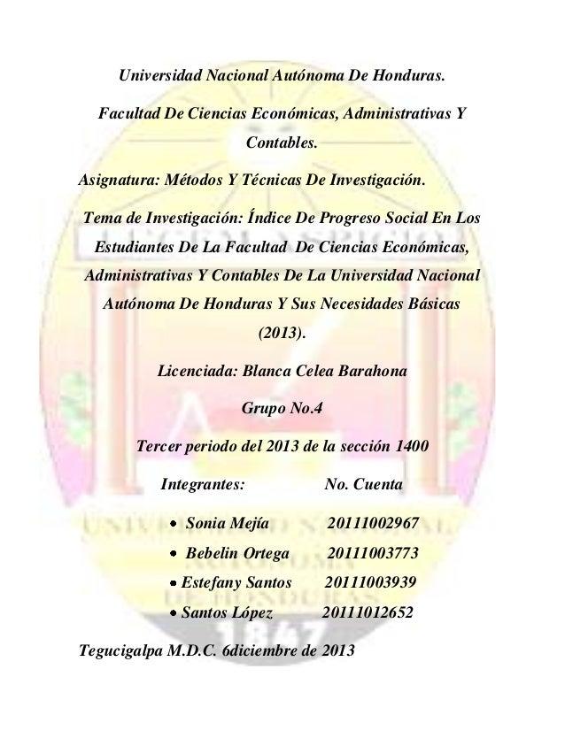 Universidad Nacional Autónoma De Honduras. Facultad De Ciencias Económicas, Administrativas Y Contables. Asignatura: Métod...