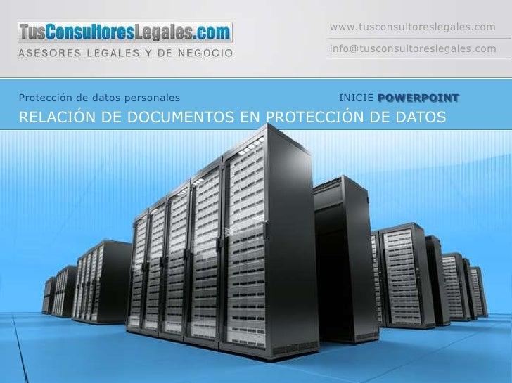 www.tusconsultoreslegales.com                                 info@tusconsultoreslegales.comProtección de datos personales...