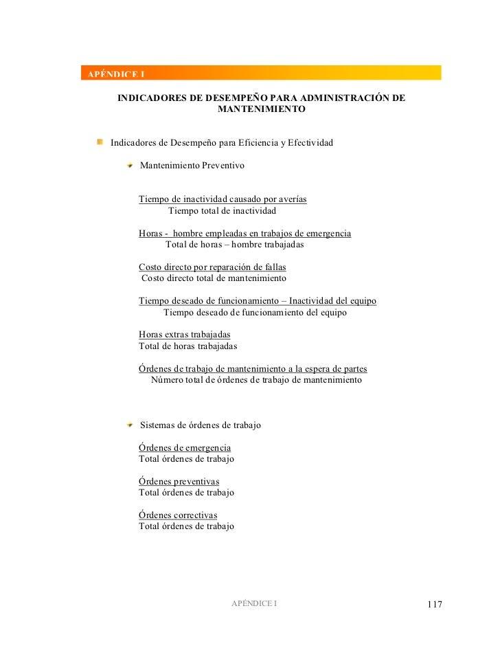 APÉNDICE I     INDICADORES DE DESEMPEÑO PARA ADMINISTRACIÓN DE                      MANTENIMIENTO    Indicadores de Desemp...