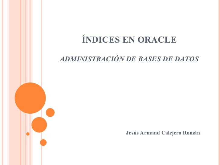 Indices en oracle