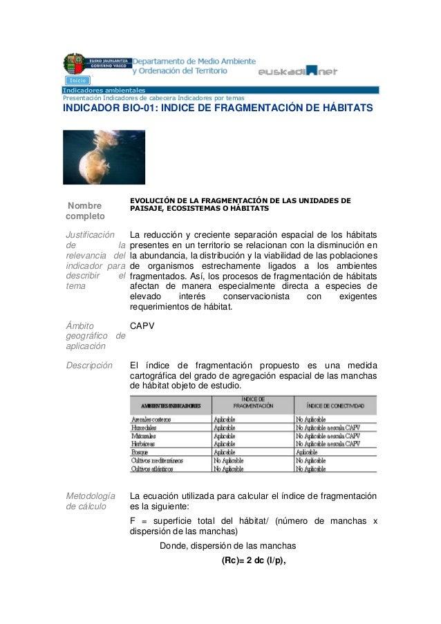 Indicadores ambientalesPresentación Indicadores de cabecera Indicadores por temasINDICADOR BIO-01: INDICE DE FRAGMENTACIÓN...