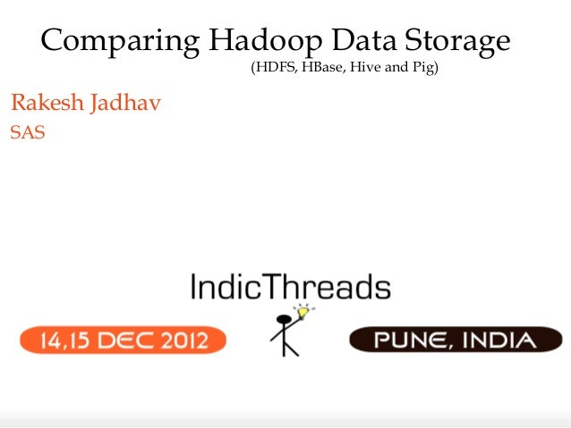 Comparing Hadoop Data Storage                (HDFS, HBase, Hive and Pig)Rakesh JadhavSAS