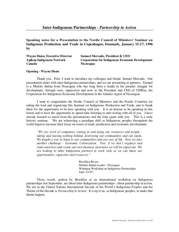 Inter-Indigenous Partnerships - Partnership in ActionSpeaking notes for a Presentation to the Nordic Council of Ministers'...
