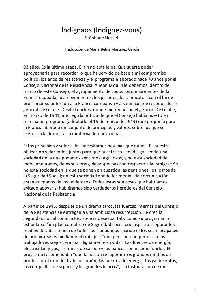 Indignaos (Indignez-vous)                               Stéphane Hessel                    Traducción de María Belvis Mart...