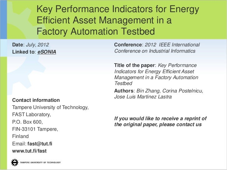 Key Performance Indicators for Energy Efficient Asset Management in a Factory Automatio