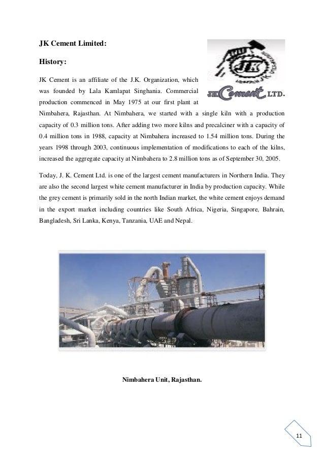 Jk White Cement : History of jk white cement