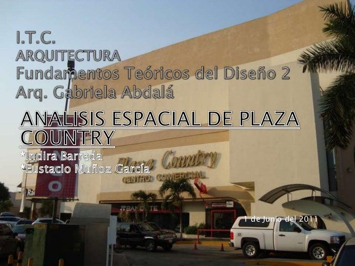 I.T.C.ARQUITECTURAFundamentos Teóricos del Diseño 2Arq. Gabriela Abdalá<br />ANALISIS ESPACIAL DE PLAZA COUNTRY<br />*Indi...