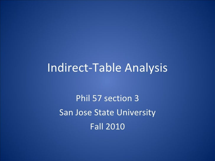 Indirect-table Analysis