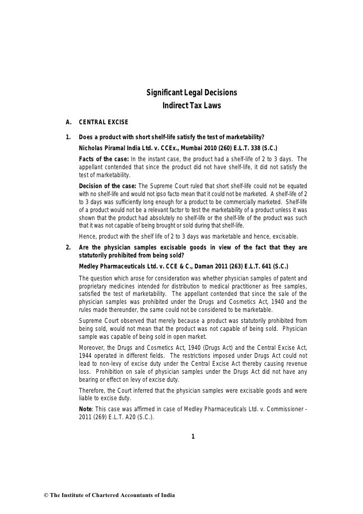 Significant Legal Decisions                                                Indirect Tax Laws        A.   CENTRAL EXCISE   ...
