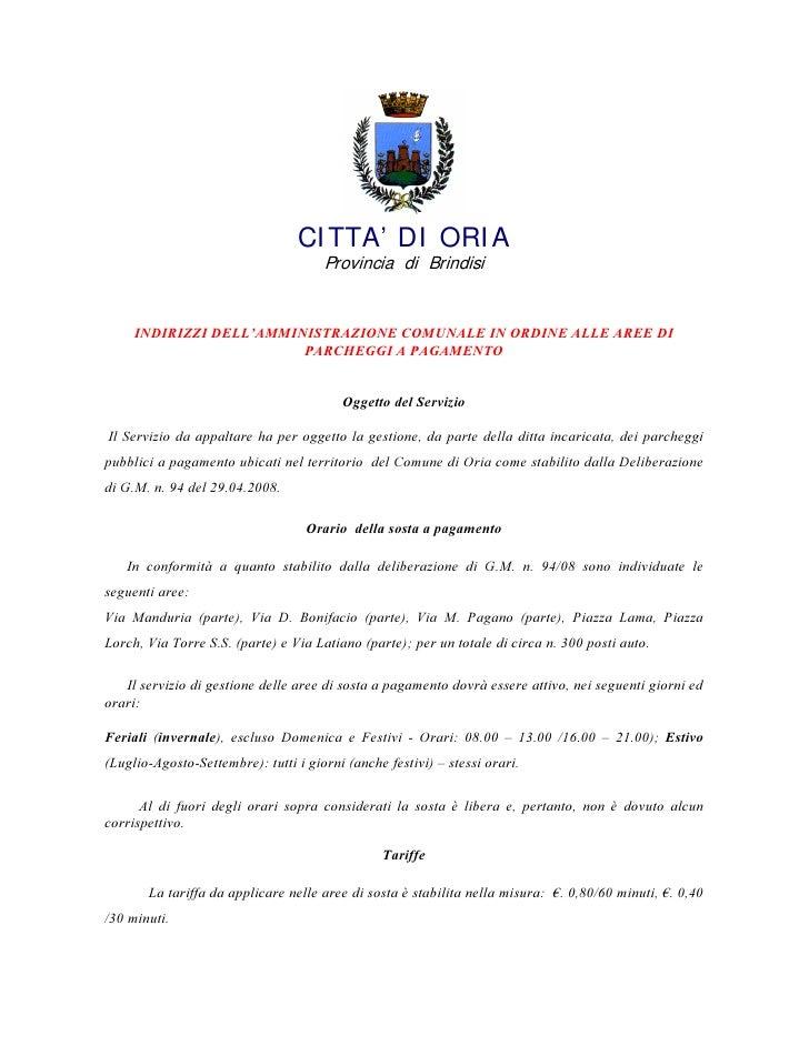 CI TTA' DI ORI A                                           Provincia di Brindisi        ,1',5,==, '(//¶$00,1,675$=,21( &20...