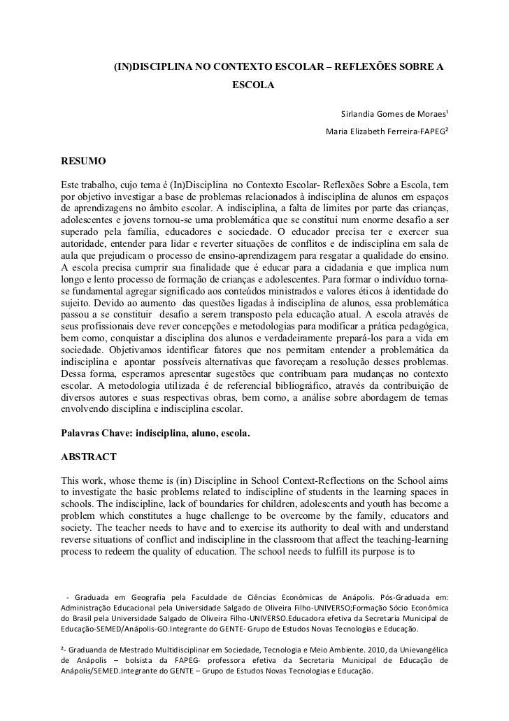 (IN)DISCIPLINA NO CONTEXTO ESCOLAR – REFLEXÕES SOBRE A                                               ESCOLA               ...