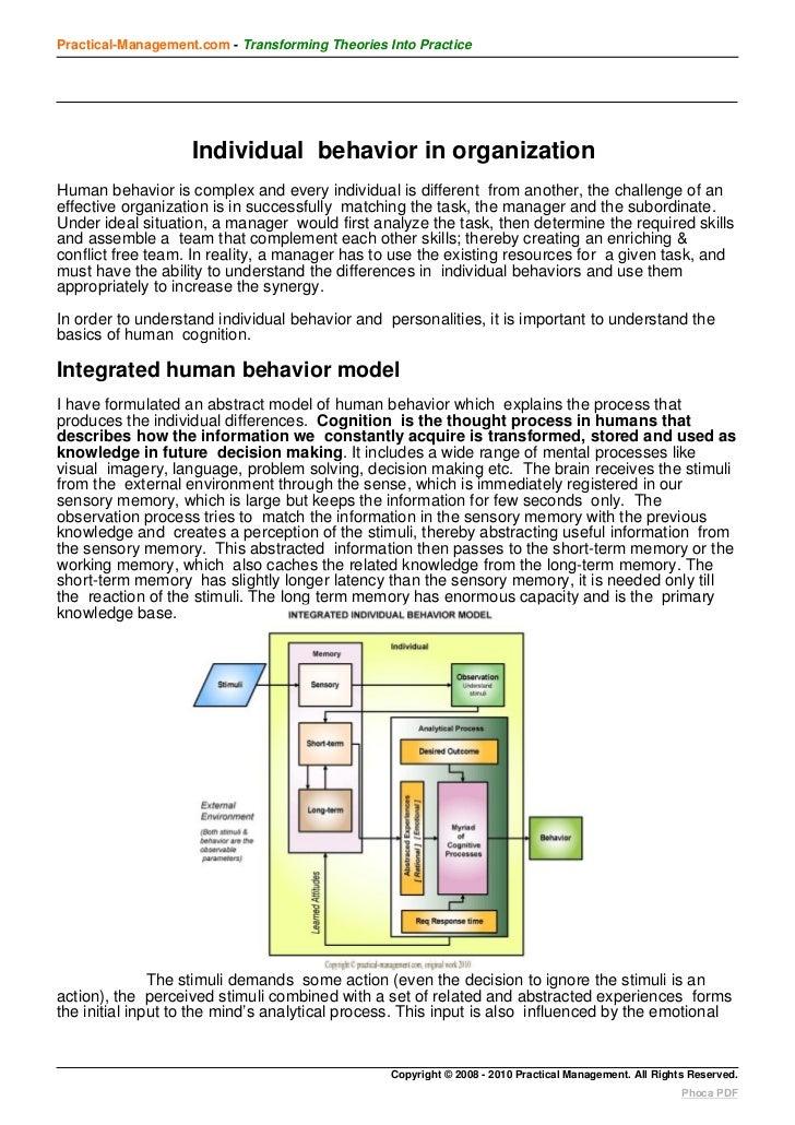 Practical-Management.com - Transforming Theories Into Practice                    Individual behavior in organizationHuman...