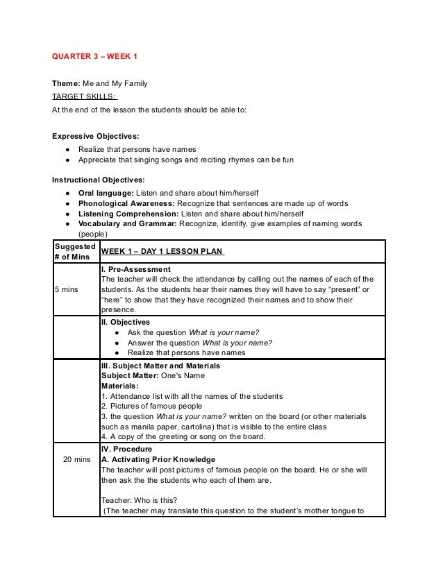 QUARTER 3 – WEEK 1 Theme: Me and My Family TARGET SKILLS: At the end of the lesson the students should be able to: Express...
