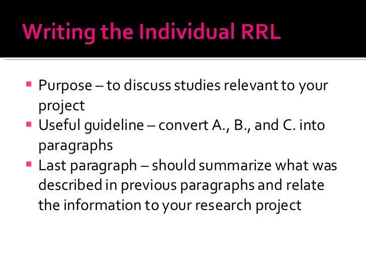 <ul><li>Purpose – to discuss studies relevant to your project  </li></ul><ul><li>Useful guideline – convert A., B., and C....