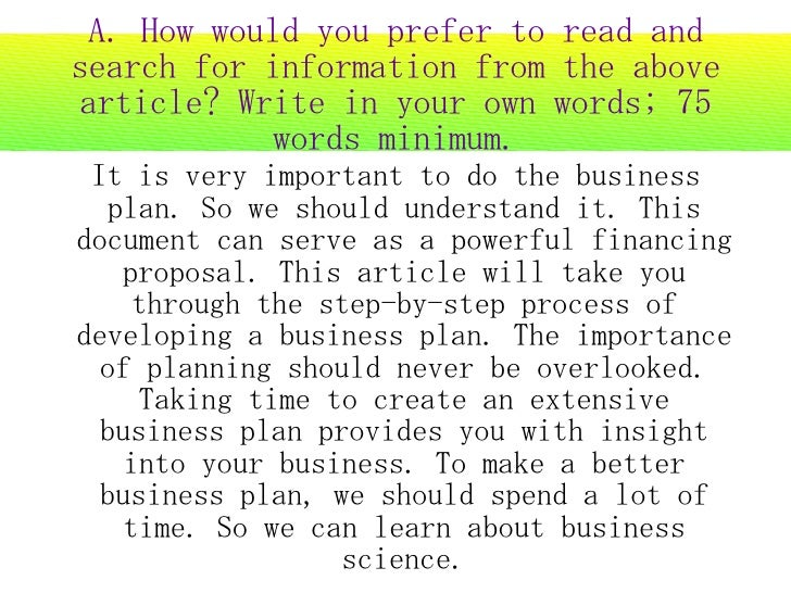 A. How would you prefer to read and search for information from the above article? Write in your own words; 75            ...