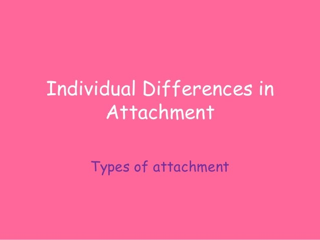 individual differences in attachment essay Ideas to account for individual differences in response to loss 34  the impact of  bowlby attachment and loss on psychoanalytic theory and practice   schizophrenia' in essays on ego psychology by h hartmann academic press  inc, new.