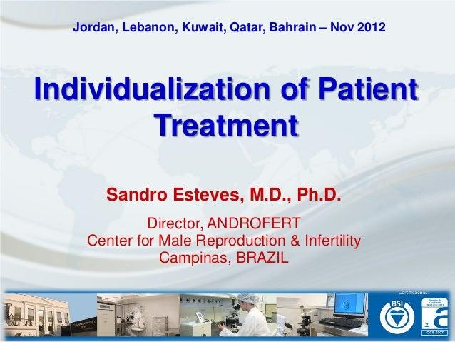 Jordan, Lebanon, Kuwait, Qatar, Bahrain – Nov 2012Individualization of Patient        Treatment       Sandro Esteves, M.D....