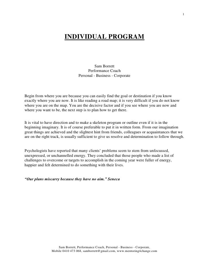 Individual program