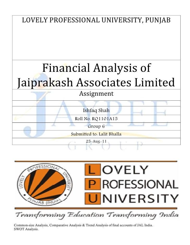 LOVELY PROFESSIONAL UNIVERSITY, PUNJAB       Financial Analysis of  Jaiprakash Associates Limited                         ...